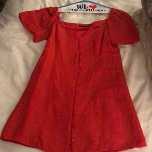 Zara red orange dress